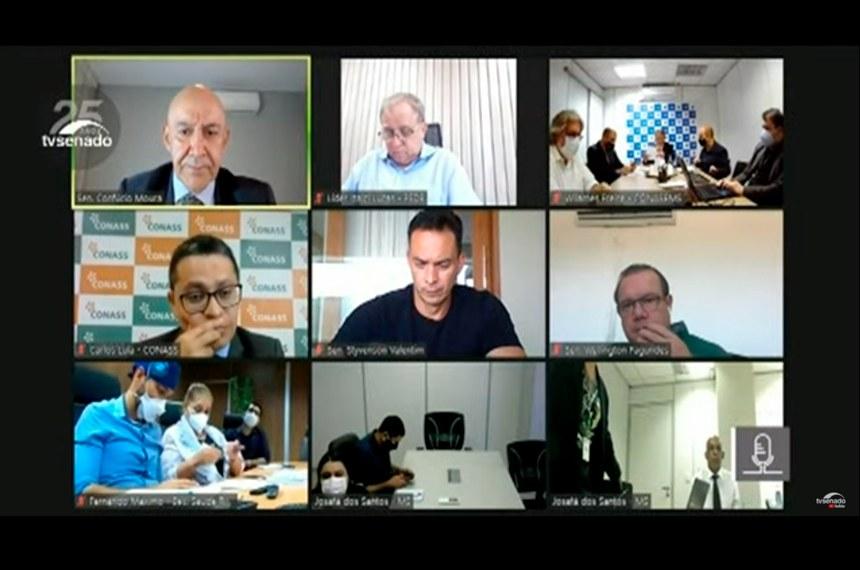 CTCOVID19: audiência para debater dificuldades de estados e municípios na pandemia, com a participação de dirigentes do MS, do Conass e do Conasems.