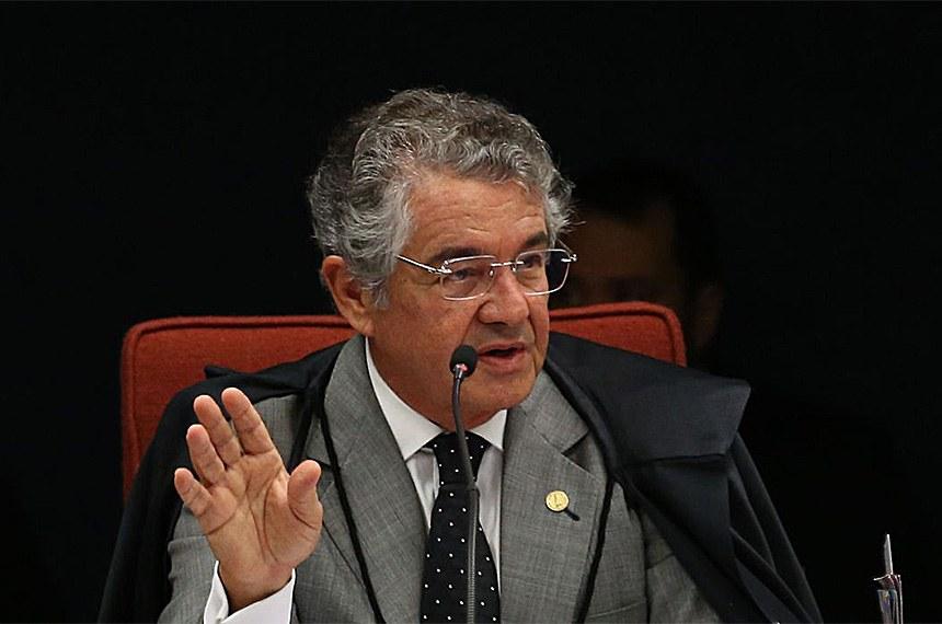 Brasília - O ministro do STF, Marco Aurélio Mello durante reunião para julgar o inquérito  em que o senador Aécio Neves é acusado de corrupção passiva e obstrução de Justiça