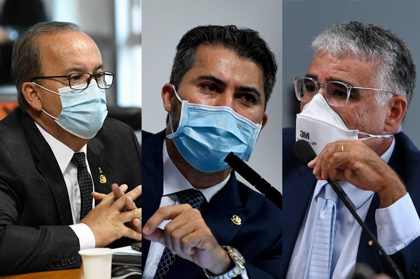 Montagem com fotos dos senadores Jorginho Mello, Marcos Rogério e Eduardo Girão na CPI da Pandemia