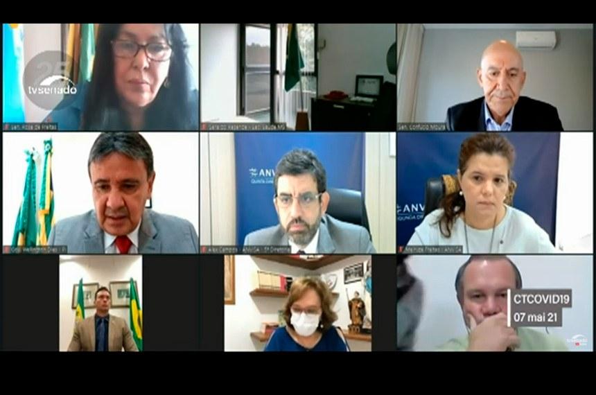 07.05.2021 CTCOVID19: audiência para debater grave crise sanitária e aquisição de vacinas, com a participação do governador do Piauí, Wellington Dias, de representantes da Anvisa, da União Química Farmacêutica e de organismos internacionais.