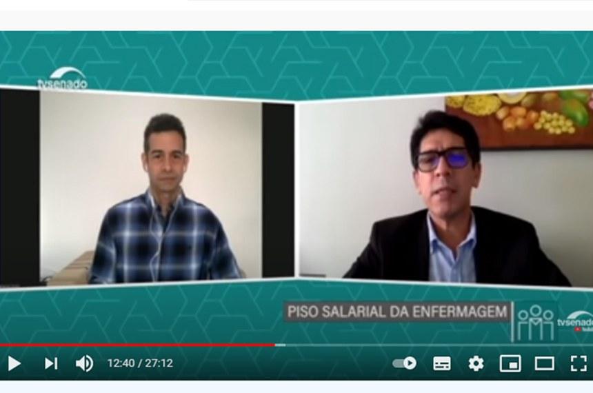 Representantes da categoria (acima, em entrevista à TV Senado) debateram o piso salarial com vários senadores, incluindo o presidente do Senado, Rodrigo Pacheco