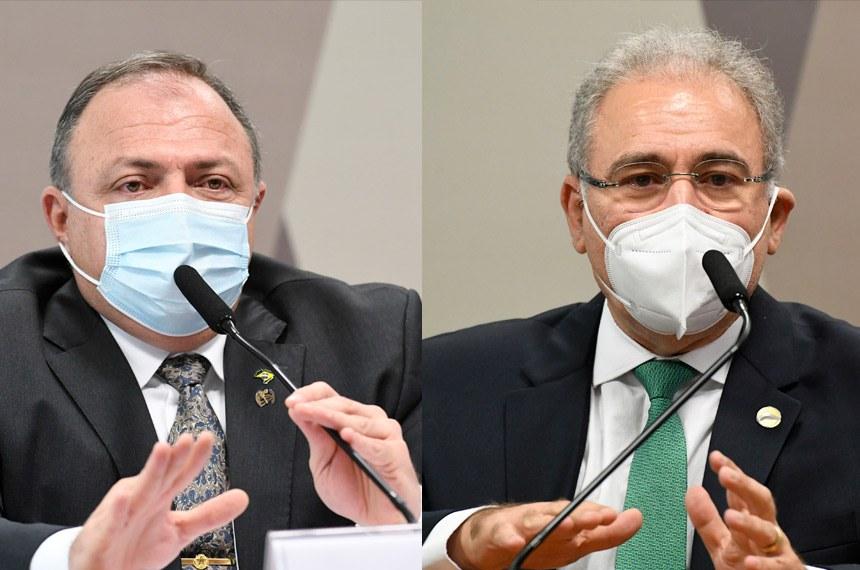 O ex-ministro da Saúde Eduardo Pazuello e o atual, Marcelo Queiroga, em seus depoimentos à CPI