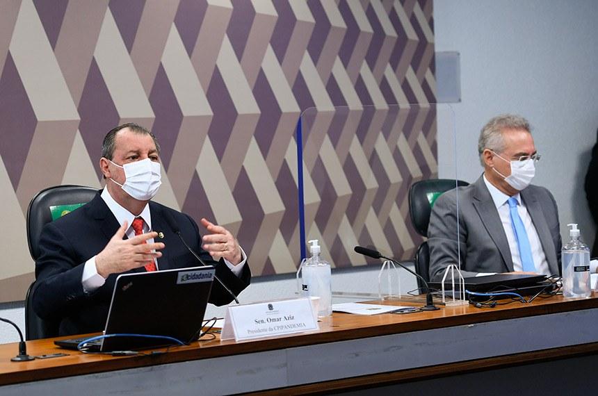 Comissão Parlamentar de Inquérito da Pandemia (CPIPANDEMIA) realiza oitiva da médica oncologista,  imunologista e diretora do Instituto Avanços em Medicina, de São Paulo. O objetivo é esclarecer sobre o assessoramento paralelo ao governo no enfrentamento à covid-19 e tentativa de mudança da bula da cloroquina.   Mesa:  presidente da CPIPANDEMIA, senador Omar Aziz (PSD-AM);  relator da CPIPANDEMIA, senador Renan Calheiros (MDB-AL).  Foto: Edilson Rodrigues/Agência Senado