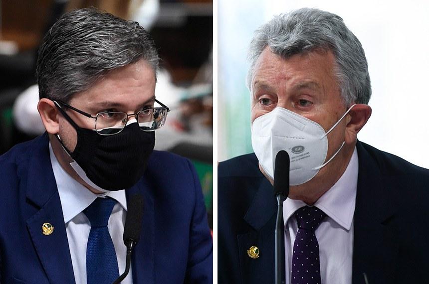 Alessandro Vieira e Luis Carlos Heinze em reunião da CPI na terça-feira