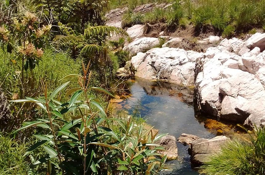 Nascente do rio São Francisco no Parque Nacional da Serra da Canastra em São Roque de Minas, Brasil