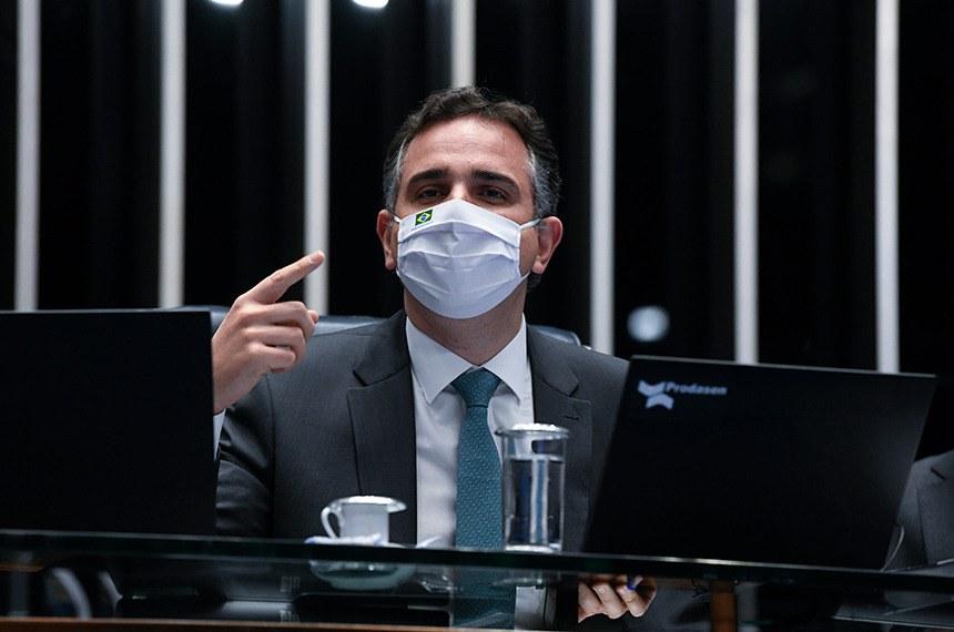 O presidente do Senado, Rodrigo Pacheco, na sessão plenária desta quarta-feira