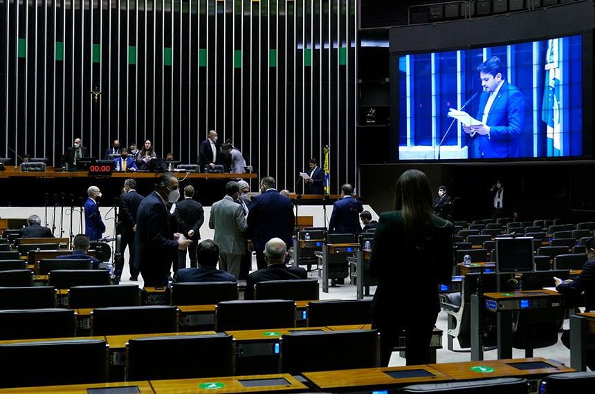 Sessão Deliberativa Remota do Congresso Nacional, para deputados, destinada à deliberação do Projeto de Lei do Congresso Nacional n° 3, de 2021 (LDO).  A Lei de Diretrizes Orçamentárias (LDO) é anual como o Orçamento, e determina as diretrizes (metas e prioridades) para a elaboração e a execução da Lei Orçamentária do ano seguinte.   Em discurso, à tribuna, relator da Lei de Diretrizes Orçamentárias (LDO) de 2022, deputado Juscelino Filho (DEM-MA).  Foto: Roque de Sá/Agência Senado