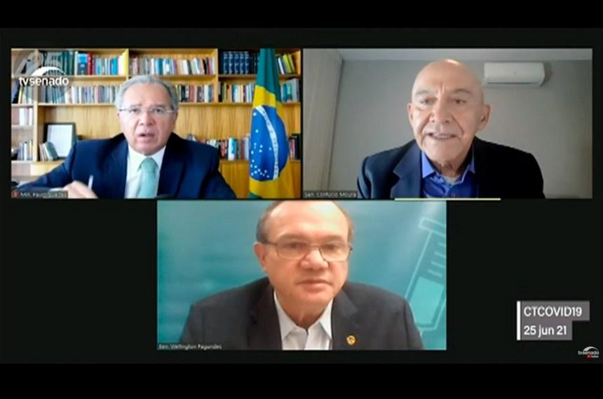 O ministro Paulo Guedes (à esq.) em audiência remota com Confúcio e Wellington Fagundes