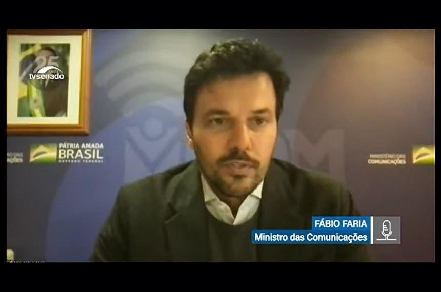 O ministro das Comunicações, Fábio Faria, falou à comissão temporária da covid-19, atendendo a requerimento apresentado pela senadora Kátia Abreu (PP-TO)
