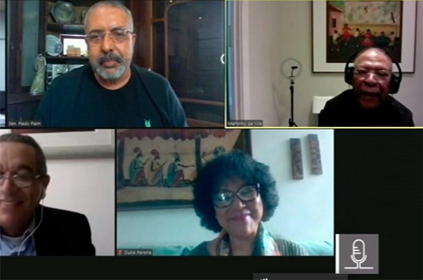 No sentido horário, Paulo Paim, Martinho da Vila, Eloi Ferreira de Araújo e Dulce Pereira