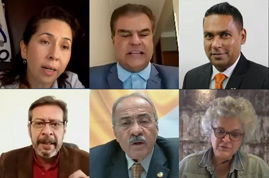 Debate do Grupo Parlamentar da Organização do Tratado de Cooperação Amazônica e do Parlamento Amazônico ocorreu nesta quinta-feira (16). O senador Nelsinho Trad ( ao centro, acima), preside ambos