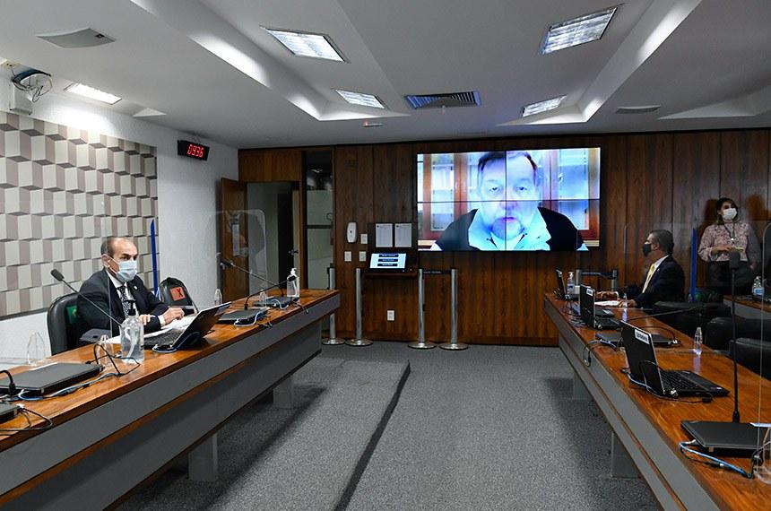 Flávio Arns (na tela), sobrinho de Zilda Arns, durante a reunião da Comissão de Educação (CE)