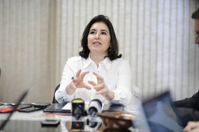 Senadora Simone Tebet (MDB-MS) concede entrevista coletiva.   Foto: Pedro França/Agência Senado