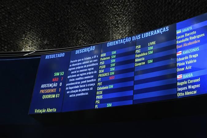 Plenário do Senado Federal durante sessão deliberativa ordinária. Ordem do dia.   Painel eletrônico.  Foto: Roque de Sá/Agência Senado