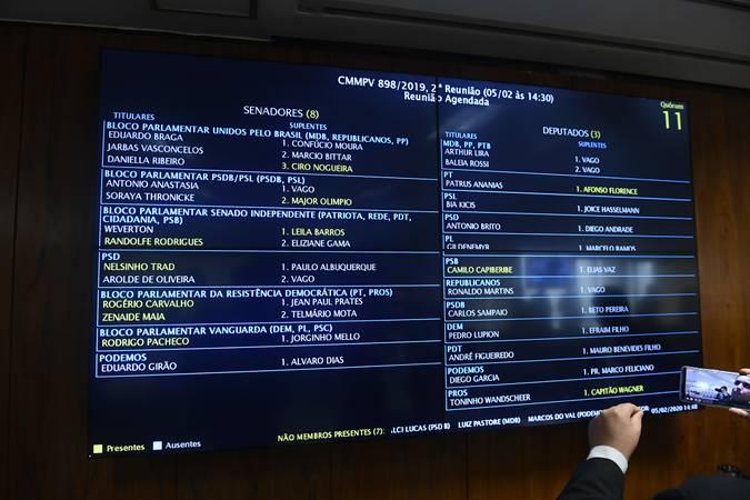Comissão Mista da Medida Provisória n° 898, de 2019 realiza reunião para criar 13ª parcela para beneficiários do Bolsa Família): apreciação de relatório.\r\rTela de projeção exibe quórum.\r\rFoto: Marcos Oliveira/Agência Senado