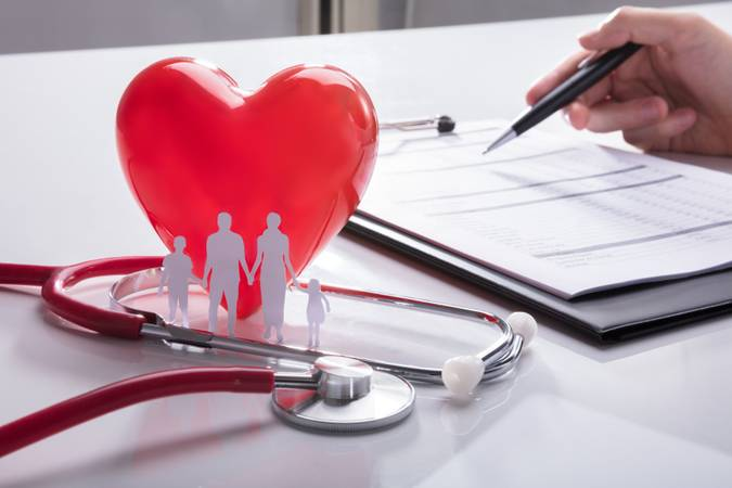 Stethoscope, Family Paper Cut Out And Red Heart