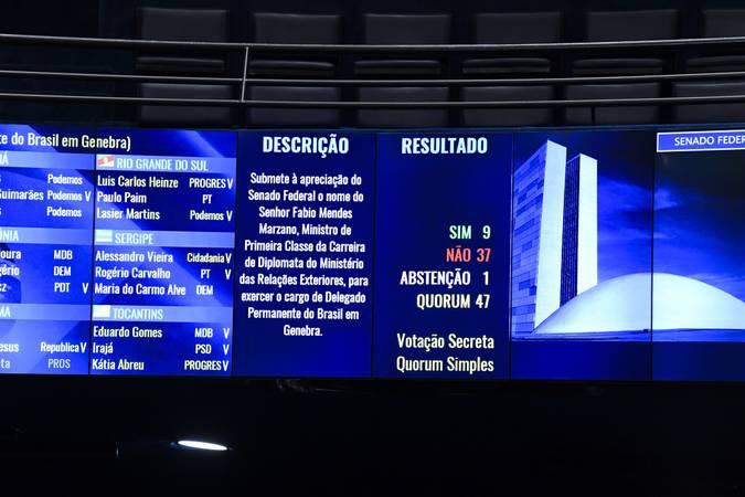 Sessão deliberativa extraordinária do Plenário do Senado Federal.   O Senado rejeita a indicação de Fabio Mendes Marzano para o cargo de delegado permanente do Brasil em Genebra (MSF 81/2020).   Foto: Jefferson Rudy/Agência Senado